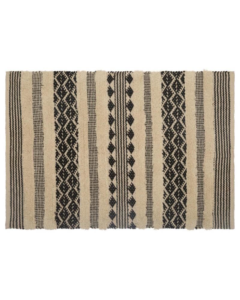 tapis coton noir et blanc 60x90. Black Bedroom Furniture Sets. Home Design Ideas